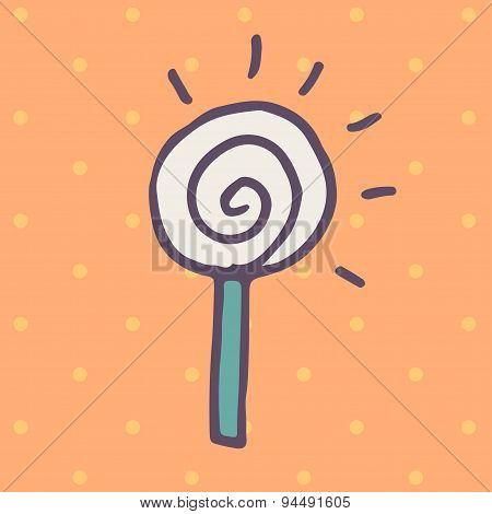 Flat icon of round lollipop