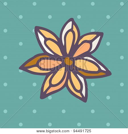 Flat Icon of star anise