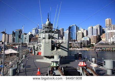 Warship and weapons at Sydney harbour
