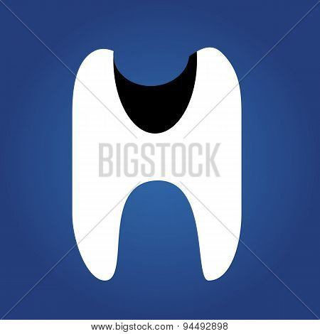 tooth dent, flat icon isolated on a blue background for your design, vector illustration