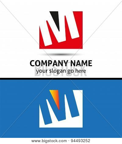 Letter M logo icon template elements