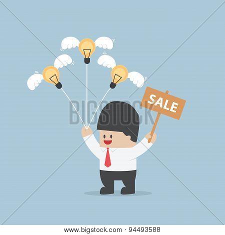 Businessman Sale Light Bulb Idea