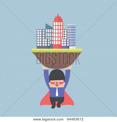 Super Businessman Carrying The City