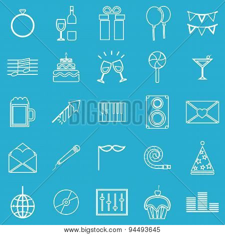 Celebration Line Icons On Blue Background