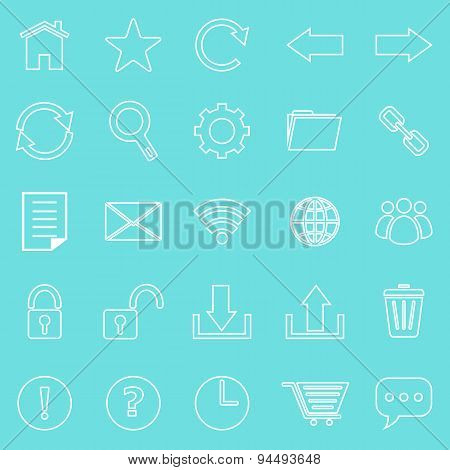 Tool Bar Line Icons On Blue Background