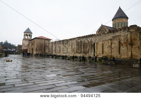 Mtsheta,GE-March1,2015:Walls of Cathedral complex Svetitskhoveli (Living Pillar) in Mtskheta.Georgia