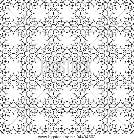 Black And White Geometric Seamless Pattern Flower Stylish With Line, Abstract Background.