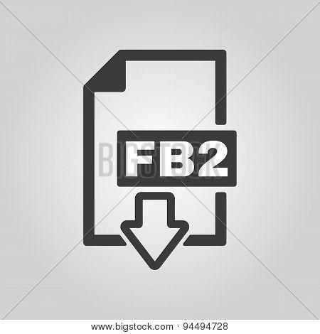 The Fb2 Icon. File Format Symbol. Flat