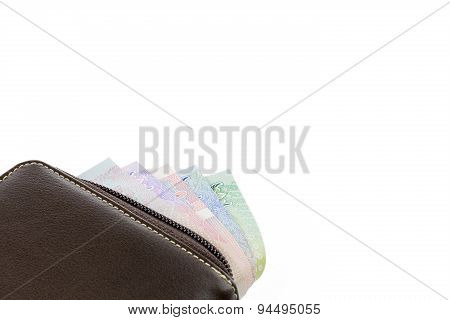 Wallet With Money Isolated On White Background.