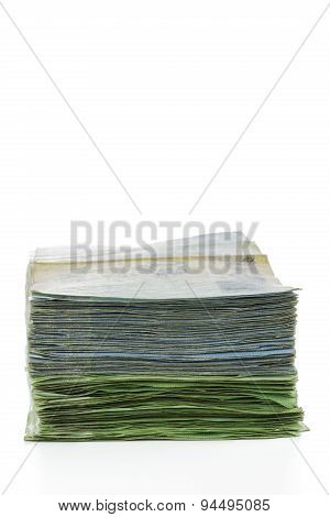 Thailand Money Banknotes Stacked Isolated