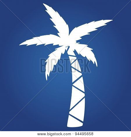 Summer icon on blue background.- palm. Logo design