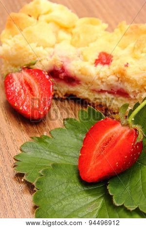 Fresh Strawberries With Leaves And Piece Of Yeast Cake