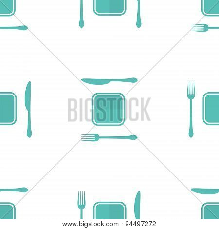 Vector plate, fork and knife seamless pattern made in moder flat design. Lunch time concept backgrou
