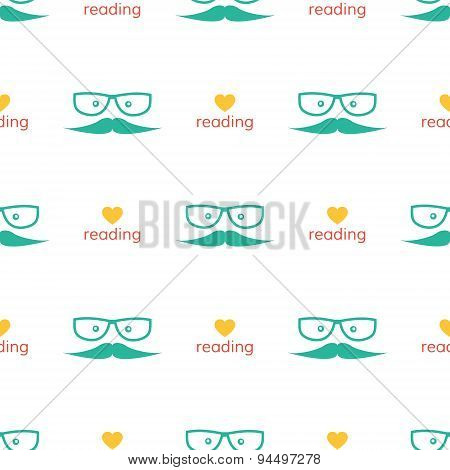 Vector love reading seamless pattern with heart and book in modern flat design. Hipster education an