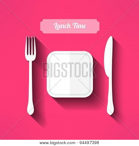 Vector plate, fork and knife made in moder flat design with long shadow. Lunch time concept