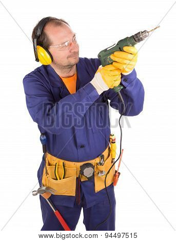 Worker with drill.