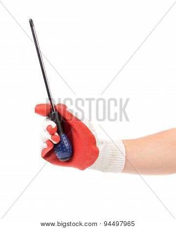 Hand in glove holding screwdriver.