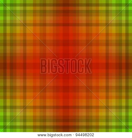Abstract checkered green orange cross design