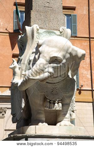 Monument Of Elephant By Bernini On Piazza Della Minerva In Rome, Italy