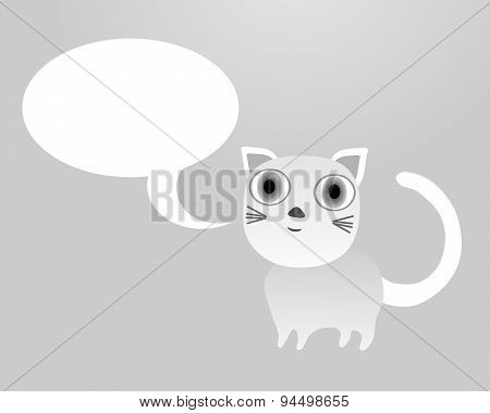 Cute little bright cat with clear white communication bubble