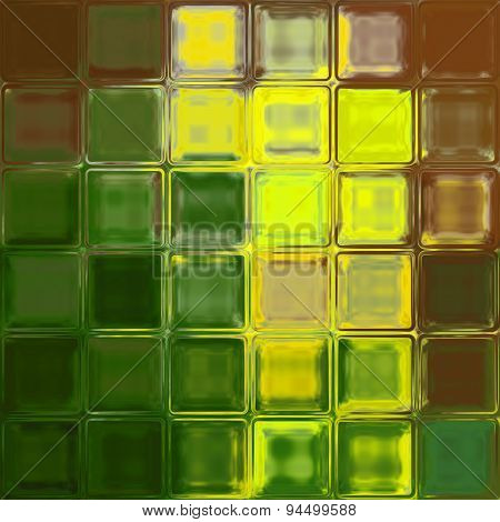 Yellow green brown glass tiles background