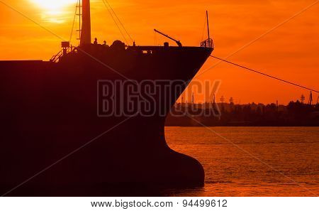 Big Industrial Cargo Ship Bow Silhouette