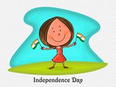 stock photo of indian independence day  - Cute little girl holding national flags in both hands on occasion of Indian Independence Day celebration - JPG