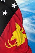 image of guinea  - Papua New Guinea waving flag on a beautiful day - JPG
