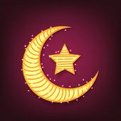 picture of crescent  - Creative crescent moon with star on shiny purple background for famous festival of Muslim community - JPG