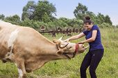 stock photo of machinery  - Smiling woman and a cow in a meadow with agricultural machinery in summer time - JPG
