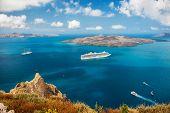 picture of greek-island  - Cruise ship at sea near the Greek Islands - JPG