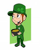image of leprechaun  - Illustration of a smiling leprechaun wearing a green suit a bow - JPG