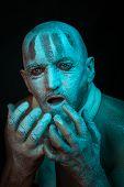 picture of madman  - Portrait of frozen man - JPG