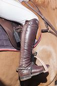 image of horse-riders  - Horse Rider leg boot saddle leather details closeup abstract - JPG