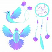 pic of dreamcatcher  - Set bird feathers and charms Dreamcatcher can be used as decorative elements - JPG