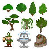 pic of garden-art  - Set of ten pixelated elements - JPG