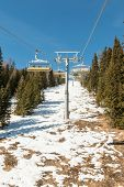 picture of ropeway  - Mountain ski chair lift ropeway - JPG