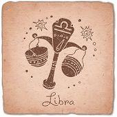 picture of zodiac sign  - Libra zodiac sign horoscope vintage card - JPG