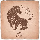 stock photo of leo  - Leo zodiac sign horoscope vintage card - JPG