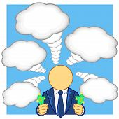 foto of bundle  - vector illustration of businessman bundle of money in the hand and thinking - JPG