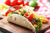 picture of potato chips  - Homemade beef burrito with vegetables - JPG