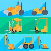 stock photo of machinery  - Set painted in the style of flat color - JPG