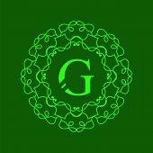 stock photo of monogram  - Simple  Monogram G Design Template on Green  Background - JPG