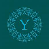 picture of monogram  - Simple  Monogram Y Design Template on Green  Background - JPG