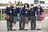 foto of playground school  - Portrait Of Elementary School Pupils In Playground - JPG