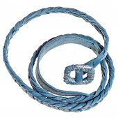 picture of coil  - above view of coiled blue braided leather belt isolated on white background - JPG