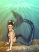 foto of mermaid  - Fantasy landscape with mermaid in the ocean - JPG