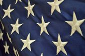 image of democracy  - Warm patriotic holiday background of the american flag closeup - JPG