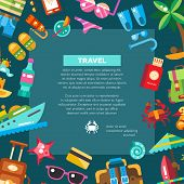 image of passport template  - Flyer of vector modern flat design seaside travel vacation icons and infographics elements - JPG