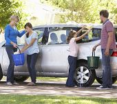 image of car carrier  - Family Washing Car Together - JPG